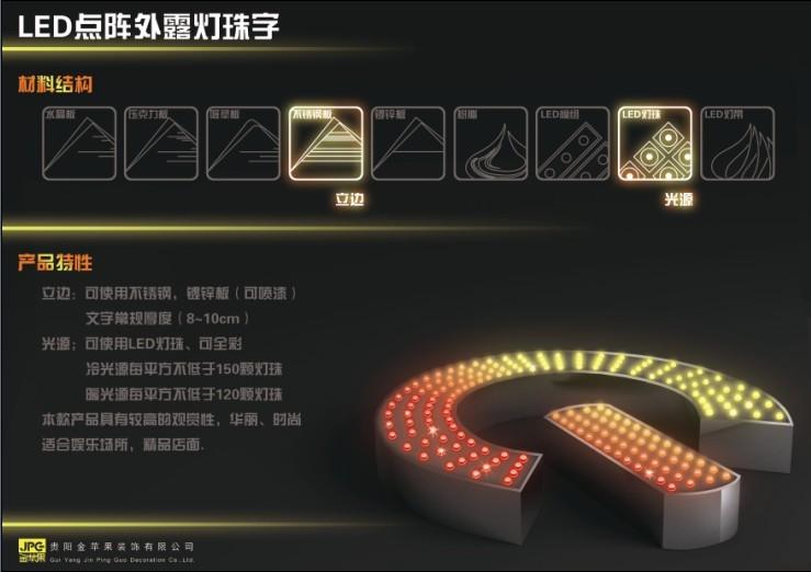 LED点陈外露灯珠字