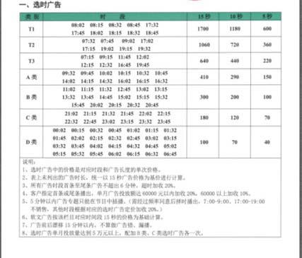 FM102.7 贵阳交通广播广告价目表
